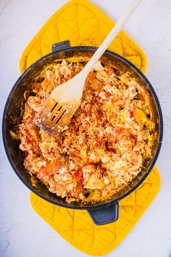 Strapatsada – Greek Scrambled Eggs with Tomato and Feta