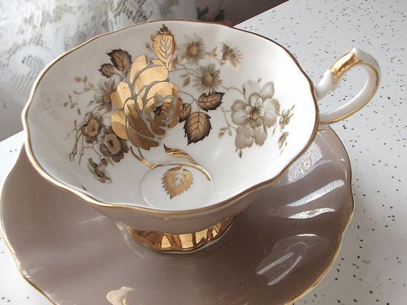 Antique gold roses tea cup and saucer set, vintage Queen Anne English tea cup set, mocha brown bone china tea set via Etsy