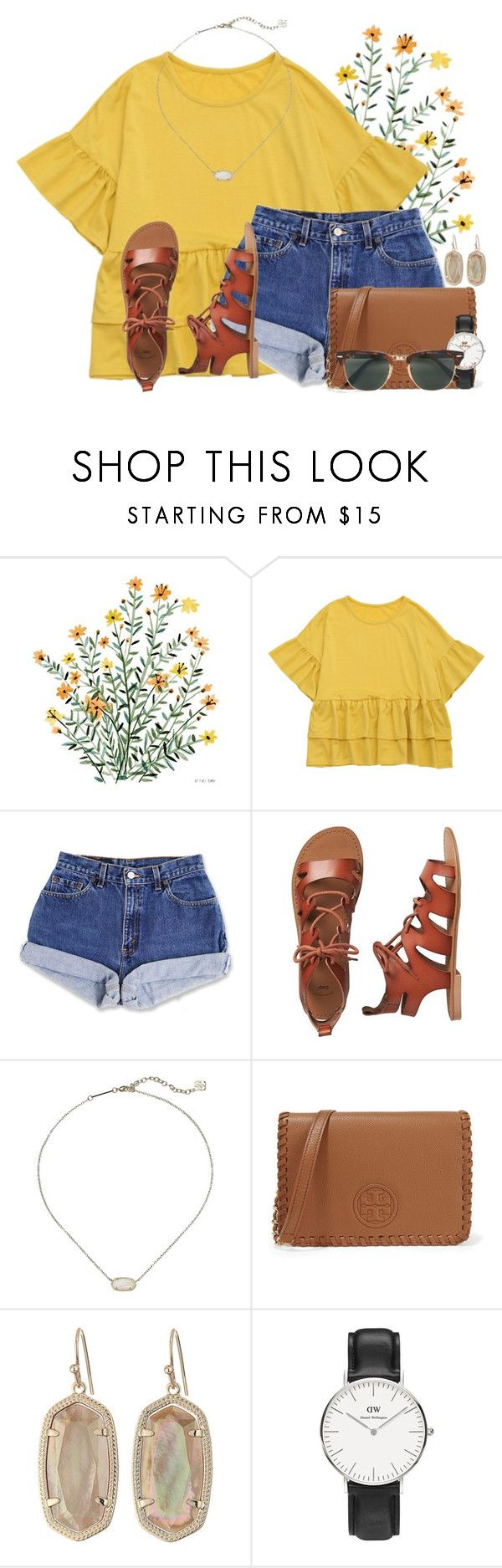 """I love the color yellow..Whats your fav color?"" by annaewakefield ❤ liked on Polyvore featuring Gap, Kendra Scott, Tory Burch, Daniel Wellington and Ray-Ban"