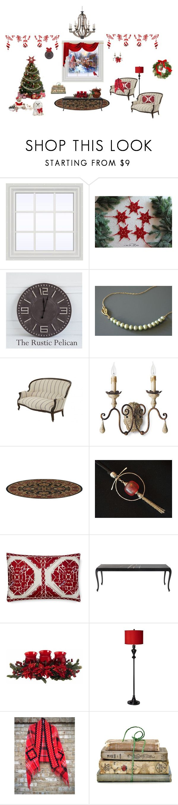 All Hearts come home for Christmas! by cozeequilts on Polyvore featuring Jayson Home, Nearly Natural, Possini Euro Design, Williams-Sonoma, Frontgate, Shabby Chic and rustic