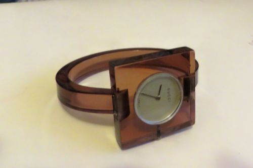 00500a80a65 Vintage Gucci Italy Mid Century Modern Lucite Watch Ladies Wristwatch
