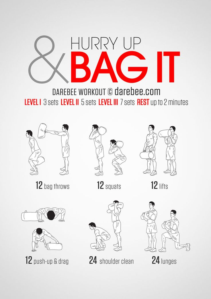 Instructions: Repeat each move with no rest in between until the set is done, rest up to 2 minutes and repeat the whole set again 3, 5 or 7 times depending on your fitness level. Tip: you can make a sand bag using an old backpack or any other bag -...