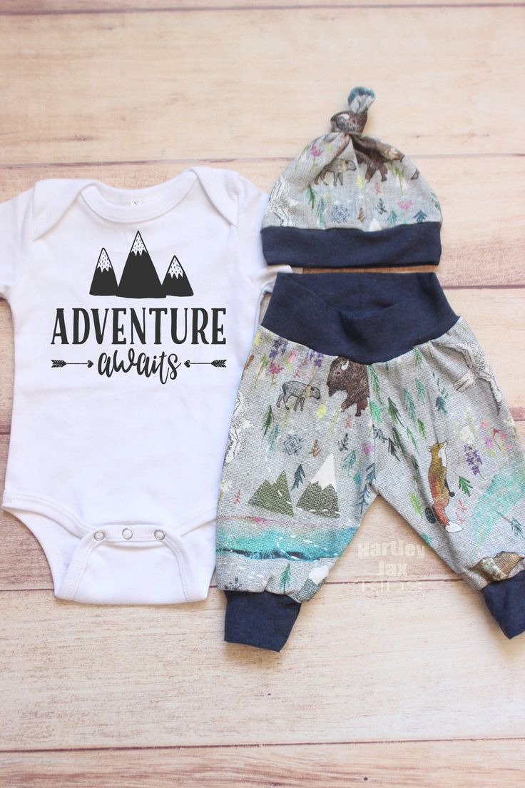 Adventure awaits baby boy take home outfit/ Organic cotton baby clothes/ Mountain baby leggings/ Newborn boy hat/ Woodland baby shower