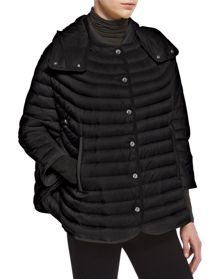 Chinchard Poncho-Style Puffer, Women's, Size: 0, Black - Moncler