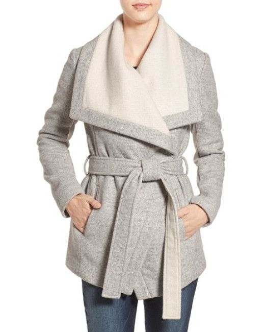 BCBGeneration | Gray Belted Two-tone Wrap Jacket | Lyst