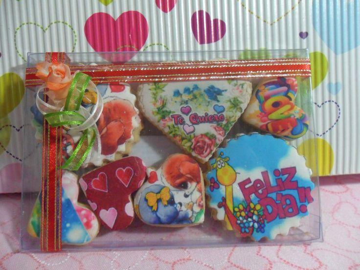 Para el dia de amor y amistad galletas decoradas con impresion comestible