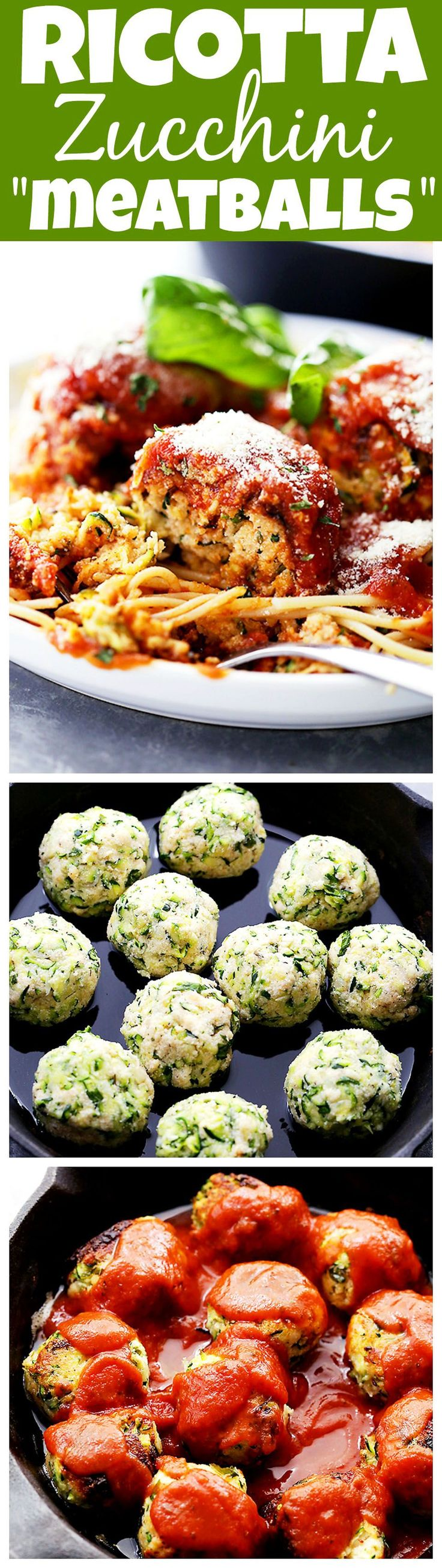"""Ricotta Zucchini """"Meatballs"""" - Delicious, melt-in-your-mouth-amazing zucchini meatballs with ricotta and parmesan cheese, topped with a warm and bubbly tomato s"""