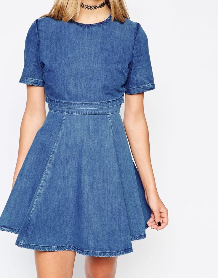 Image 3 of ASOS PETITE Denim Crop Top Skater Dress