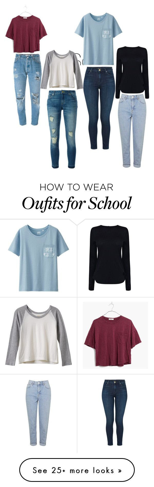 """Back to School Inspiration"" by emiipear on Polyvore featuring Uniqlo, Madewell, RVCA, Levi's, MICHAEL Michael Kors, J Brand, Topshop and Helmut Lang"