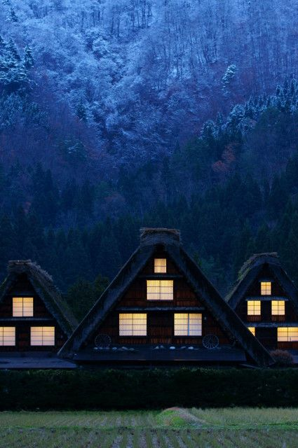 Early winter night in Historic Villages of Shirakawa-go, Gifu, Japan