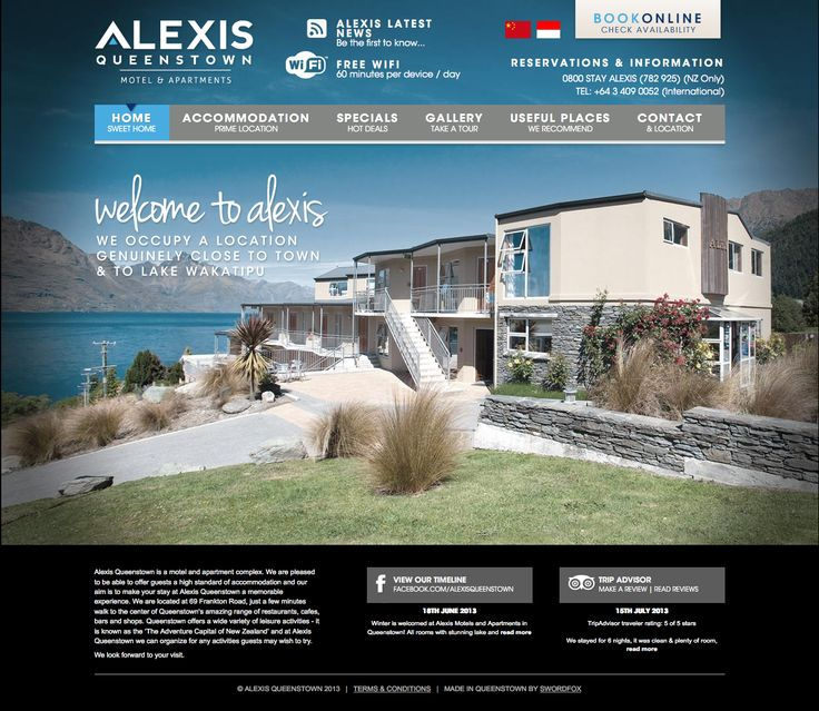 Website design and development for popular motel and apartment complex in Central Queenstown. http://www.alexisqueenstown.co.nz