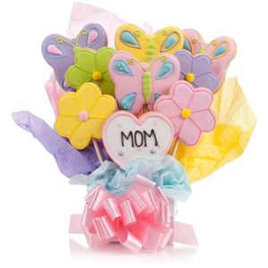 Choose the number of cookies in  5, 7, 9 or 12 in this arrangement of Flower Cookie Blooms. Just for Mom Cookie Bouquet from #Arttowngifts.com.