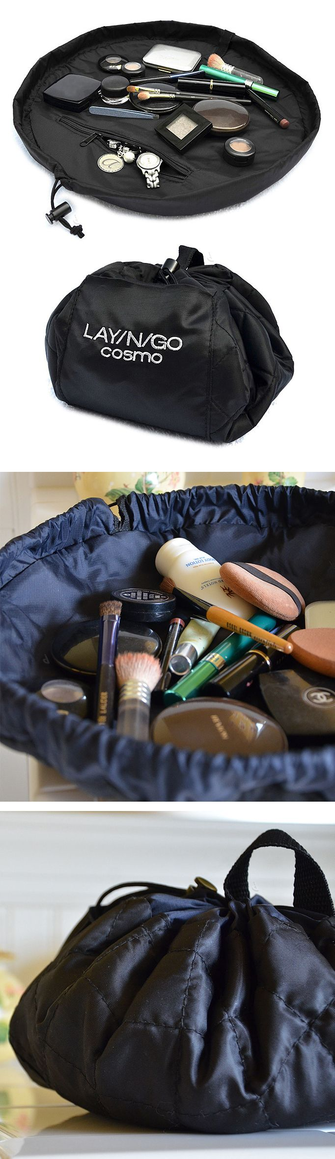 Lay-N-Go Cosmetic Bag // lays flat so you can see your gear, then simply pull the string to pack up and go! Perfect for travelling! - - - where has this been all my life
