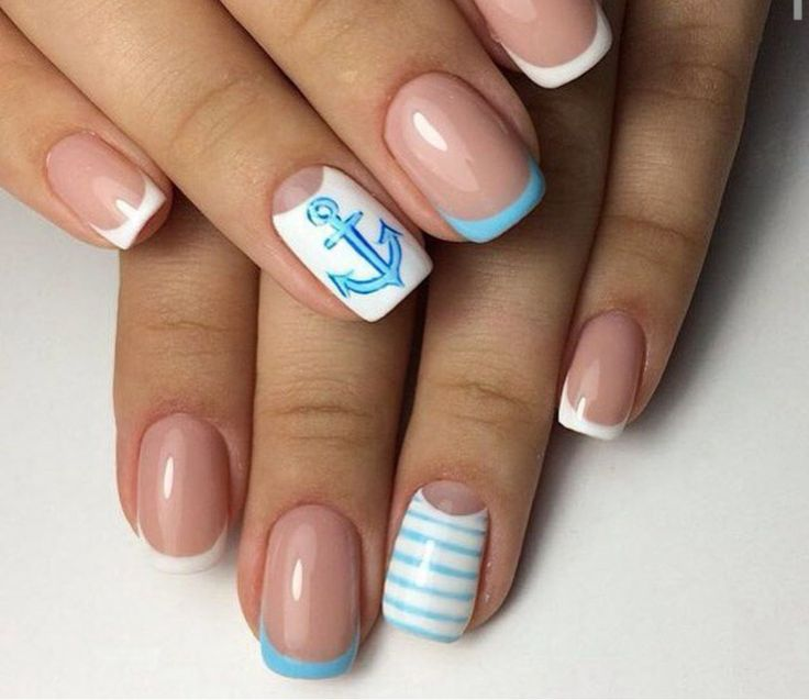 Anchor nails, Blue and white nails, July nails, Manicure by summer dress, Nautical nails, Navy french manicure, ring finger nails, Sea nails