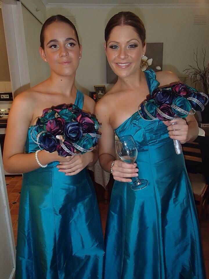 Large bridesmaid paua bouquets by Flaxation.                                www.flaxation.co.nz