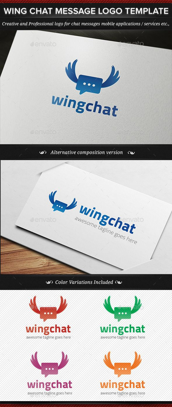 Wing Chat Message Logo Template - Downloadable here!