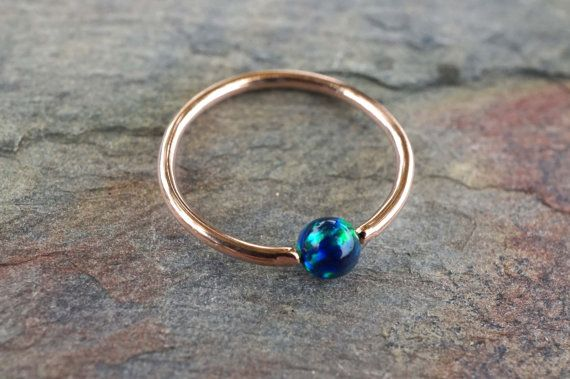 Rose Gold Hoop with Blue Green Opal Cartilage by MidnightsMojo
