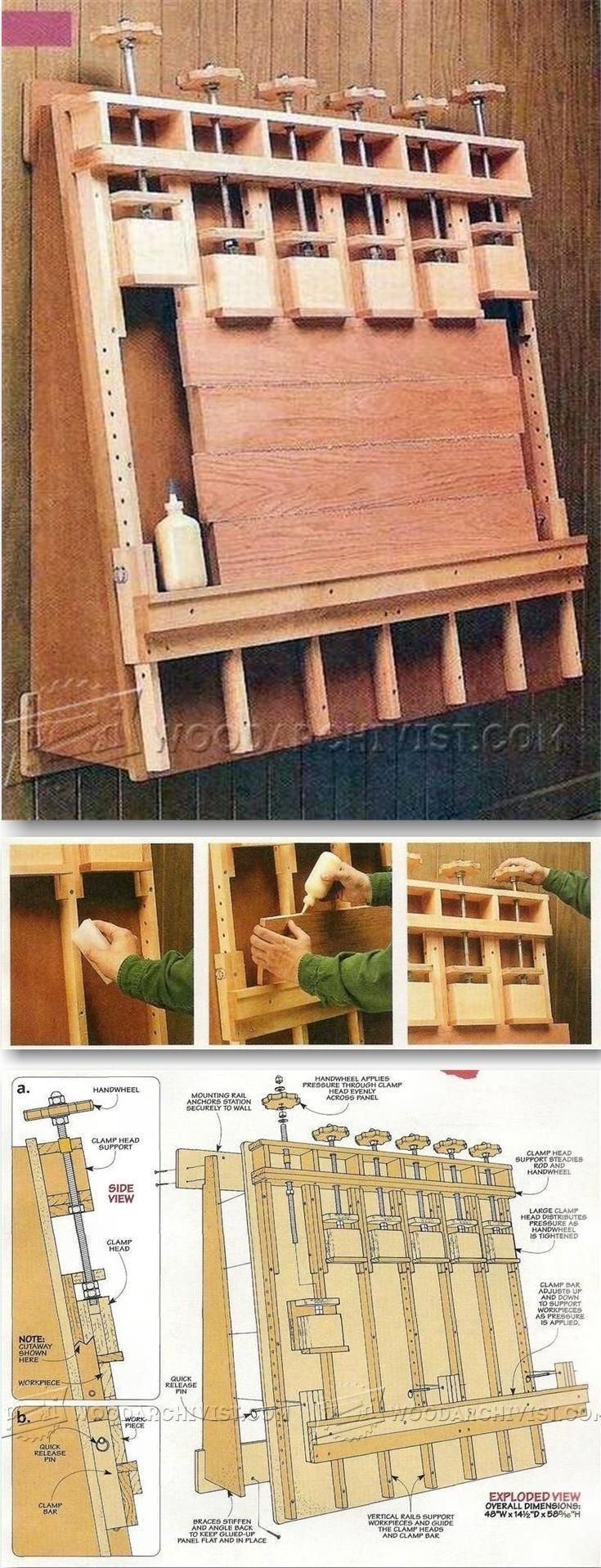 DIY Wall Mounted Panel Glue Up Press - Panel Glue Up Tips, Jigs and Techniques | http://WoodArchivist.com
