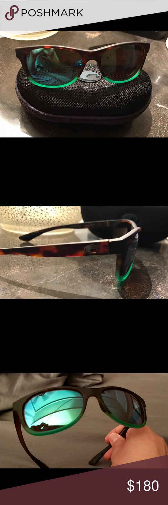 Costa Del Mar Sunglasses 💯% authentic Polarized Costa Del Mar sunglasses.   Tortuga fade to a green with green mirrored plastic lens.  I only wore them once for about an hour.  No scratches, practically new.  Feel free to ask any questions Costa Accessories Sunglasses