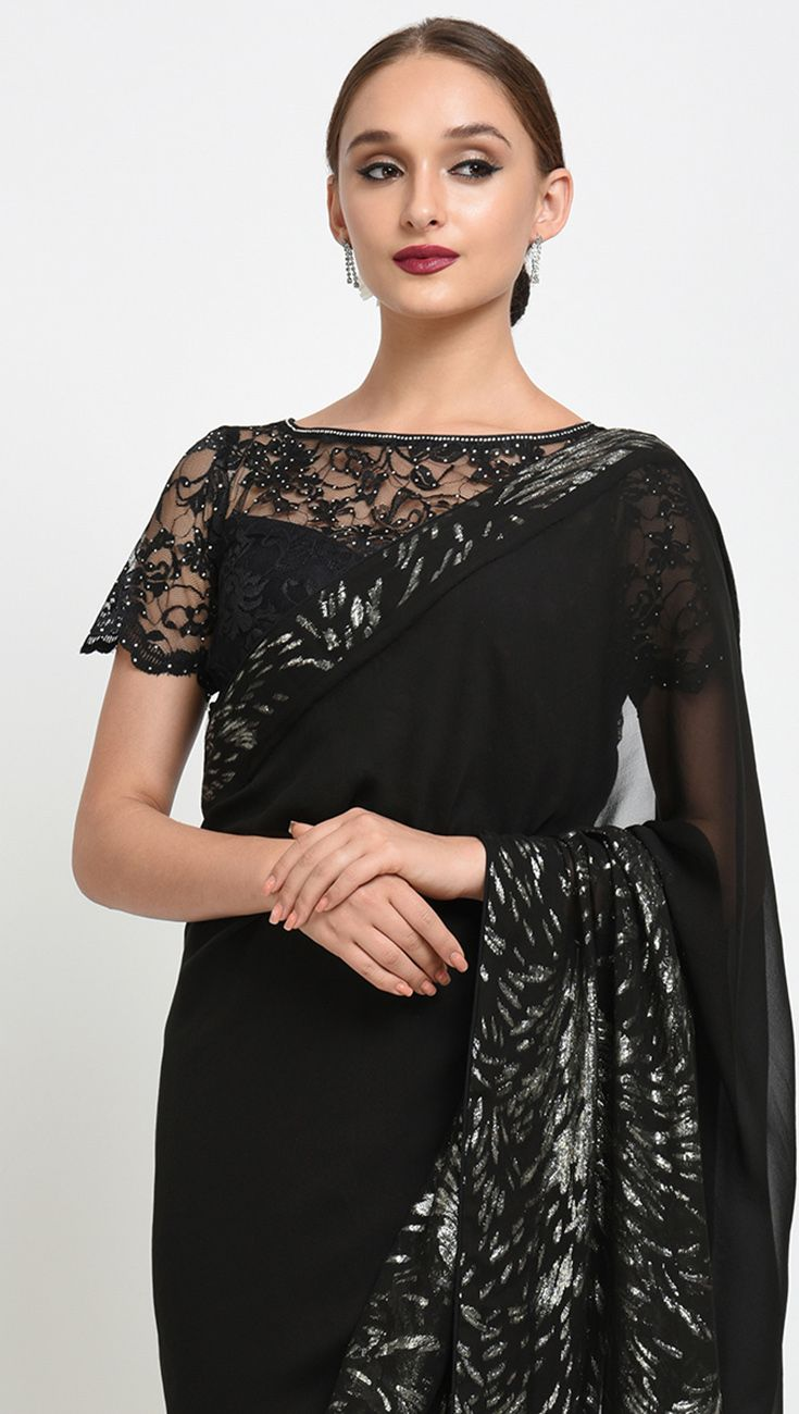 a4598bb6 Black Silver Floral Zari Weave Saree With Crystal Lace Blouse in ...