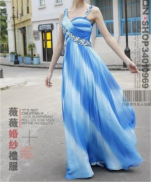striped evening gowns   ... 081 blue stripe evening dress , deep V type,floor-length evening dress fun and flirty