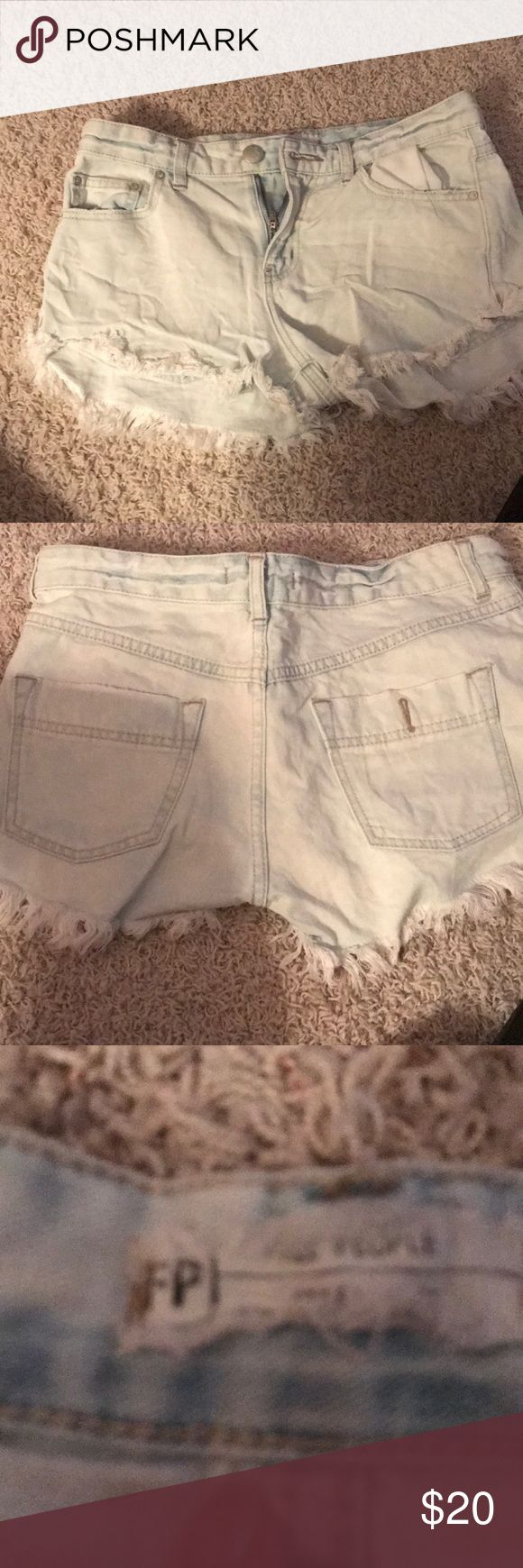 Light wash Free People shorts Light wash free People shorts, size 26. Only worn a couple times, natural fraying look Free People Shorts Jean Shorts