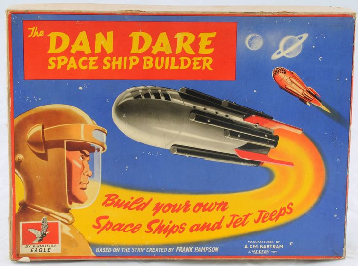 Dan Dare Spaceship Builder toy made in the UK by A & M Bartram, after the Frank Hampson comic strip in Eagle Magazine, 1953