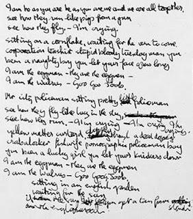 """I am the Walrus""  John's handwritten lyrics"