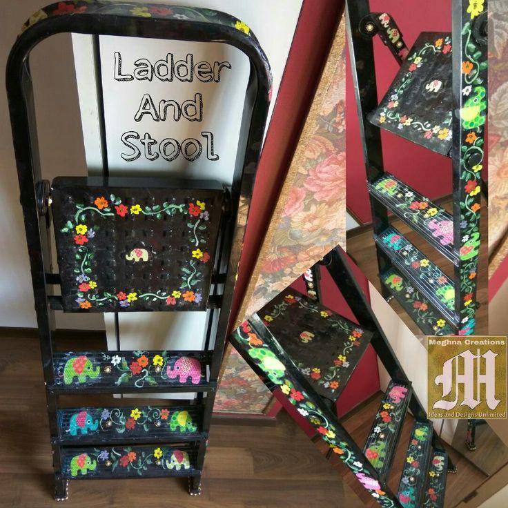 "TITLE : Floral Elephant Ladder MEDIUM : Oils on Alluminuim FEATURE : A 3'-0"" ladder with 3 steps Painted. Useful And Aesthetic ! # MeghnaCreations #creation #ladder #stool #handpainted #allblack #floral #elephants #indian #alluminium #materialart #usefulness #aesthetic #artwithapurpose #homestyles #gift #mumbai #instaladder"