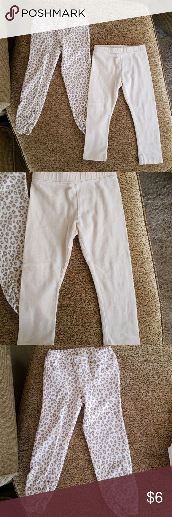 Legging bundle. Leopard print and cream leggings.  GUC. Various brands. Cream leggings have a light gold sparkle in them. Bottoms Leggings