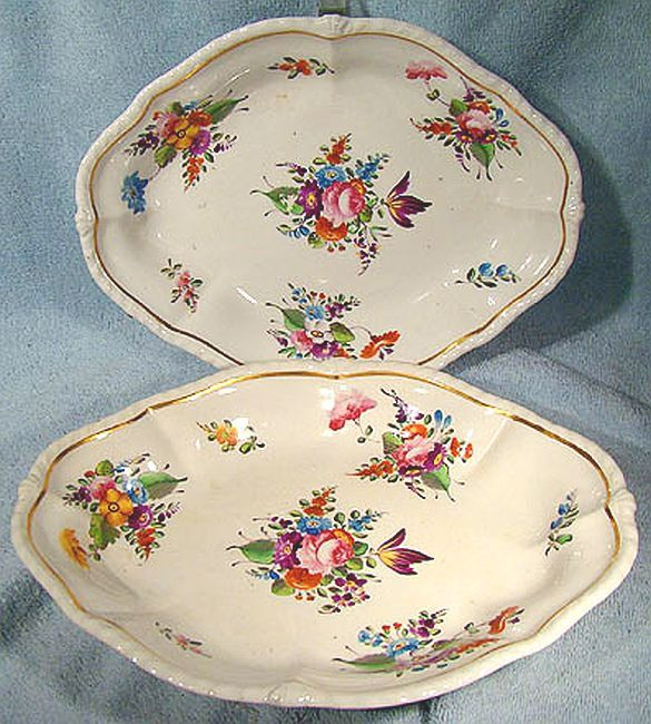 Georgian Pair Derby Hand Painted Cake Bowls or Baskets 1800 - 1825 by FionaKennyAntiques on Etsy
