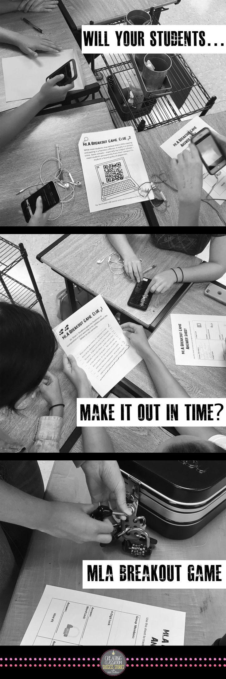 breakout escape game, MLA review, citation game, practice, lock box, breakout edu, plagiarism