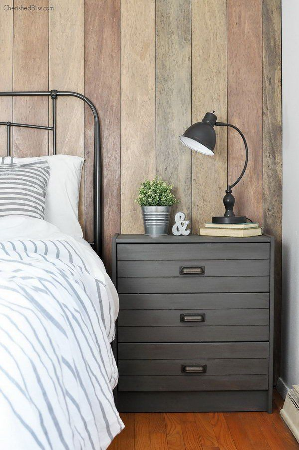 Rustic Industrial Nightstand. Paint a basic IKEA RAST chest with the gorgeous deep and warm gray and add some cup pulls to create this rustic industrial nightstand. See how to do it