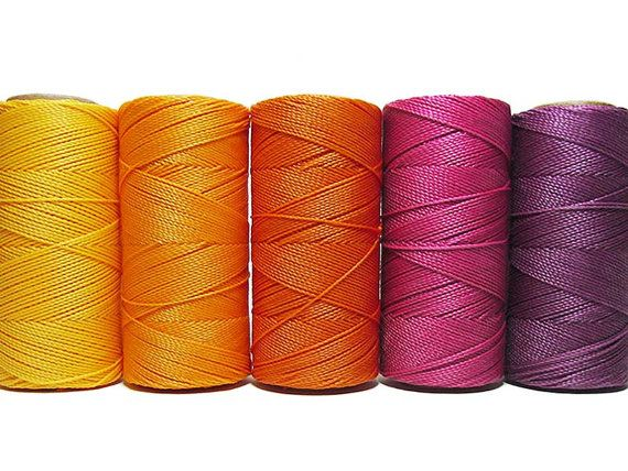 Linhasita* Micro Macrame* Waxed Polyester* Waxed - Macrame Cord - Set of 5 Colors - 10 meters each color - Sunset