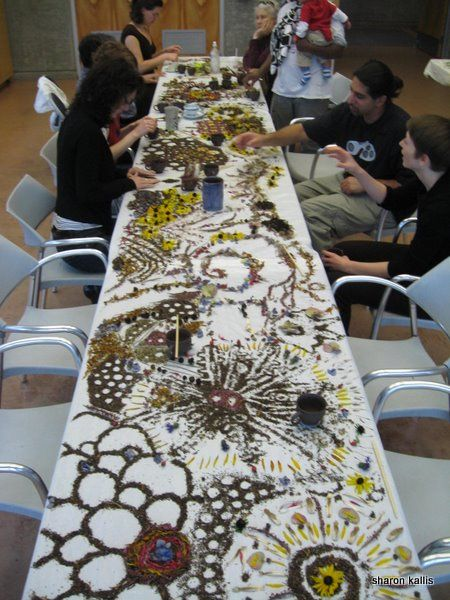 Images from Coal Harbour Community Artist in Residence: Working with end of season materials from city garden beds. table mosaic palette, table mosaic from community tea party, flotsam installation...