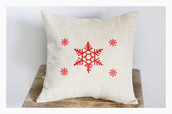 Snowflakes  Embroidered Christmas pillow cover by KoTshop on Etsy