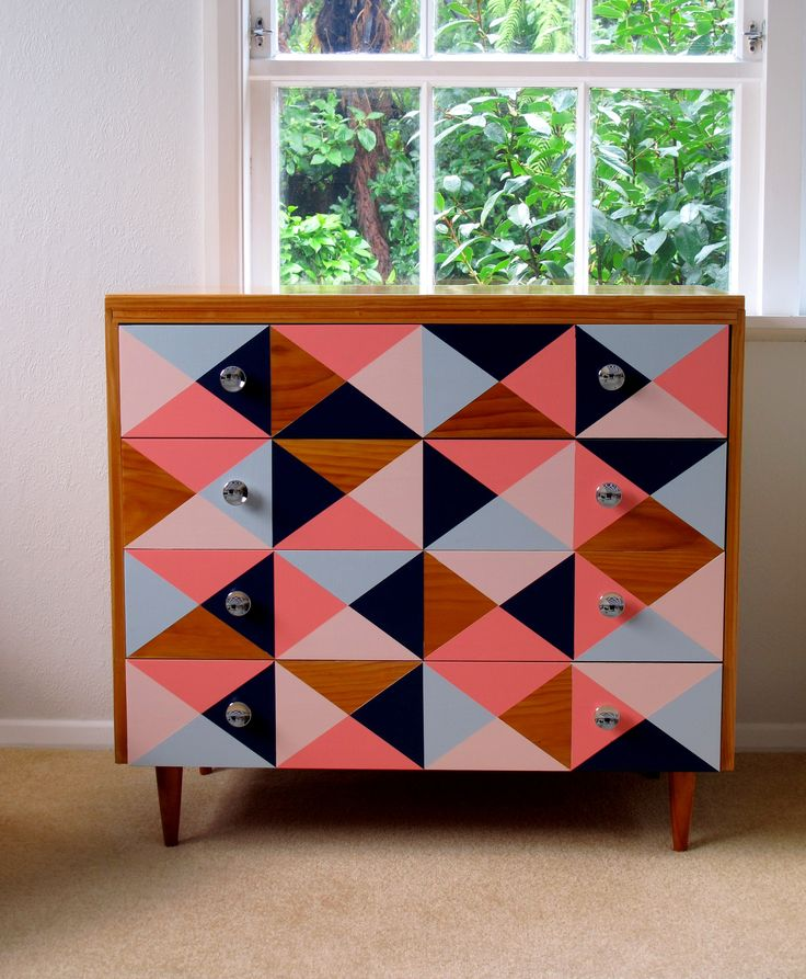 Geo patterned retro style drawers.  Love this colour combo, a real stand out,