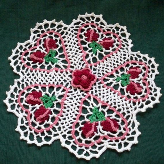 thread crochet doily rose budding hearts by AndersonsCreations,