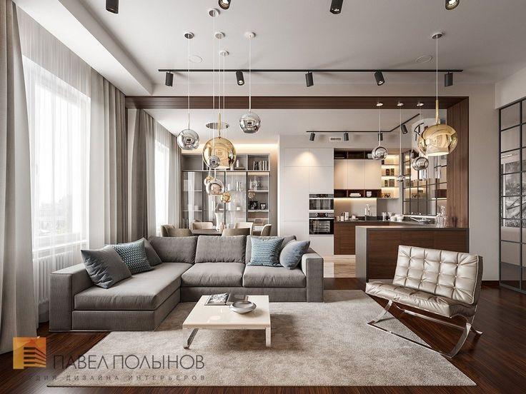 Фото интерьер кухни-гостиной из проекта «Дизайн интерьера трехкомнатной квартиры 127 кв.м., ЖК «Парадный квартал», современный стиль»