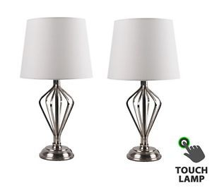 Pair of Contemporary Satin Nickel Touch Lamps Bedside Lights w/ Cream Shades
