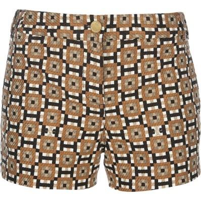 Shorts Com Padronagem Em Algodão, Tory Burch R$710,00