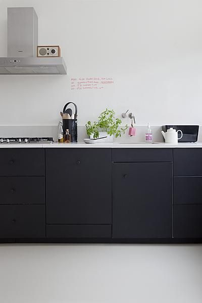 Matt black kitchen with playful, alternating face plates.