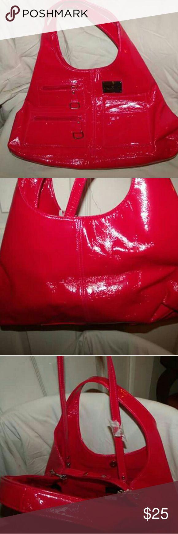 Kenneth Cole Unlisted Patent Hobo Shoulder Bag New Red PVC Patent Hobo/Crossover bag Crossover Strap removes to make Shoulder bag Unlisted Bags Hobos