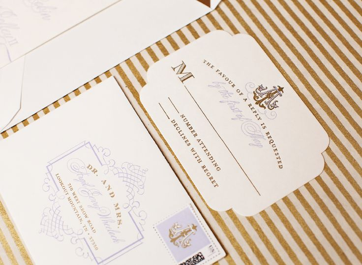 Letterpress lavender and gold #wedding reply card featuring with the couples custom wedding #monogram I Custom by Nico and Lala