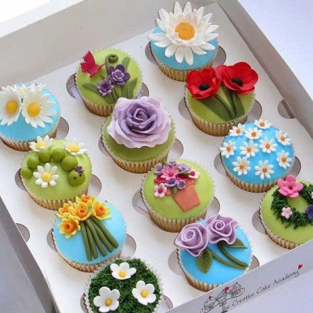 Colourful floral cupcakes from The Creative Cake Academy