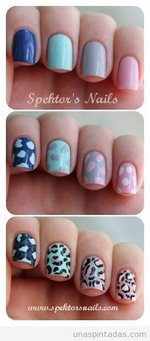 Tutorial con fotos paso a paso para pintar un print o estampado de leopardo en decoración de uñas