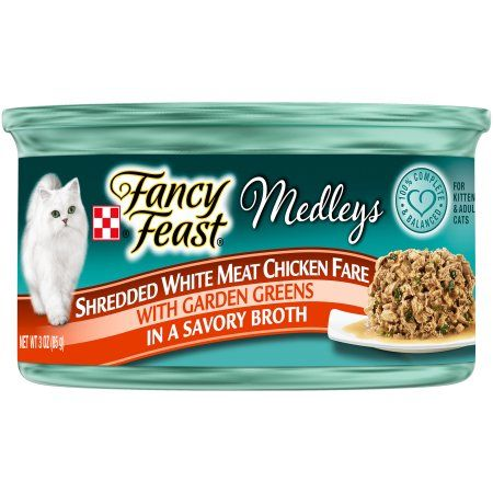 Purina Fancy Feast Medleys Shredded White Meat Chicken Fare Cat Food 3 oz. Can