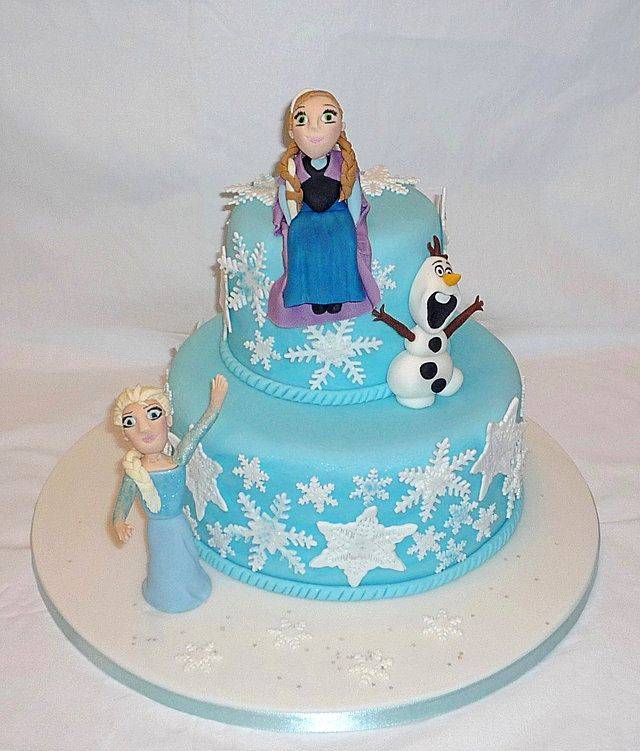 Frozen with Anna, Elsa and Olaf birthday cake by EvaRose Cakes