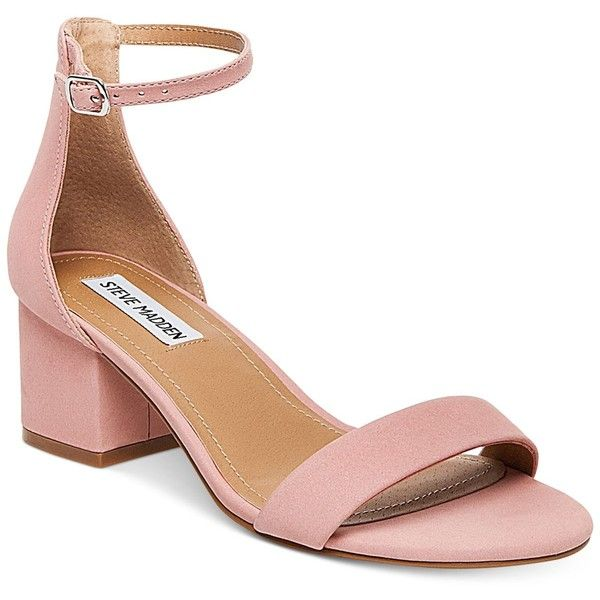 Steve Madden Women's Irenee Two-Piece Block-Heel Sandals ($79) ❤ liked on Polyvore featuring shoes, sandals, light pink, ankle strap heel sandals, block-heel sandals, steve madden sandals, chunky heel sandals and chunky shoes