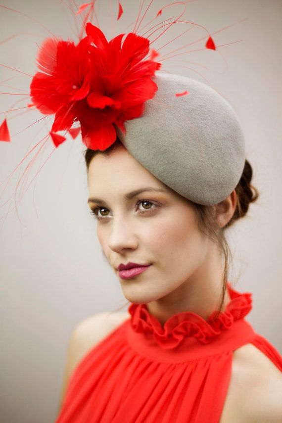 Races Hat with Dramatic Feather Flower by MaggieMowbrayHats